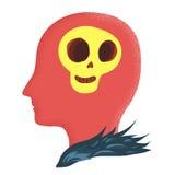 Cranio nello scarabocchio capo del fumetto Immagini Stock Libere da Diritti