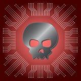Cranio nero metallico sul fondo rosso del circuito del consiglio principale Fotografie Stock Libere da Diritti