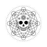 Cranio ornamentale con il simbolo geometrico Fotografia Stock Libera da Diritti