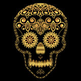 Cranio ornamentale dello zucchero dell'oro Fotografia Stock