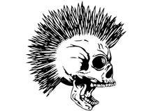 Cranio punk con mohawk Immagine Stock