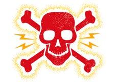 Cranio rosso d'annata illustrazione di stock