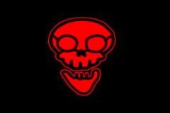 Cranio rosso pittogramma piano di simbolo su fondo nero semplice rosso fotografie stock libere da diritti