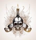 Cranio, rotolo e candela Immagine Stock