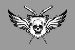 Cranio spaventoso con le ali, il logo disegnato a mano, il tatuaggio o l'icona royalty illustrazione gratis