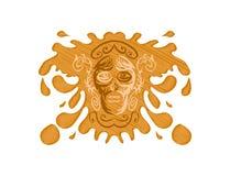 Cranio tribale su spruzzata Immagine Stock
