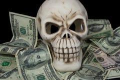 Cranio umano in biglietto Immagine Stock