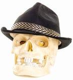 Cranio umano che porta un cappello jazzistico nero Fotografia Stock