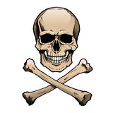 Cranio umano colorato e tibie incrociate Immagine Stock