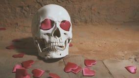 Cranio umano con cuore rosso Caduta dei cuori sul movimento lento del cranio Concetto per il giorno del ` s del biglietto di S. V archivi video