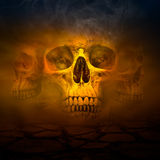 Cranio umano con fumo fotografia stock libera da diritti
