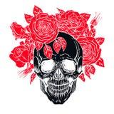Cranio umano con una corona delle rose illustrazione vettoriale