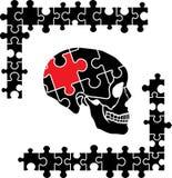 Cranio umano di puzzle, simbolo di pensiero Fotografia Stock
