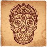 Cranio umano disegnato a mano etnico d'annata Fotografia Stock