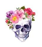 Cranio umano - fiori nello stile di boho watercolor illustrazione di stock