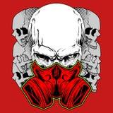 Cranio umano in maschera antigas Disegnato a mano royalty illustrazione gratis