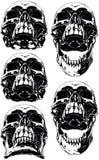Cranio umano spaventoso nero con l'insieme canino del tatuaggio illustrazione di stock