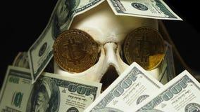 Cranio umano in un mucchio di valuta americana stock footage
