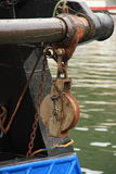Crank. Detail from a crank engine in a fishing boat Royalty Free Stock Image