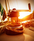 Crank handle of yacht on sunset Stock Image