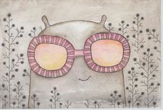 Crank in  pink glasses. Crank glasses optimistic about the dull gray world Stock Images