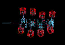 Crank shaft with pistons (3D xray red and blue transparent). Crank shaft with pistons (3D xray red and blue transparent isolated on black background Royalty Free Stock Photos