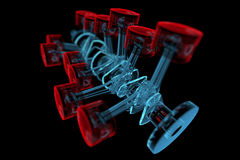 Crank shaft with pistons (3D xray red and blue transparent) Stock Photos