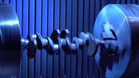 crankshaft Ο άξονας περιστρέφεται στη μηχανή άλεσης απόθεμα βίντεο