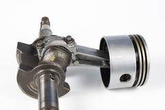 Crankshaft i tłok mały spalanie silnik na białym ta zdjęcie stock
