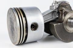 Crankshaft i tłok mały spalanie silnik na białym ta obraz stock