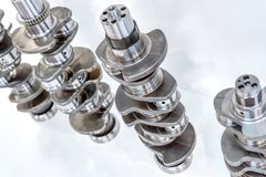 Crankshaft of an internal combustion engine. Main part of the automobile engine royalty free stock photography