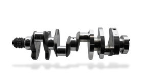 Crankshaft, part of engine. Crankshaft, isolated over white, clipping path, shadow Royalty Free Stock Photography