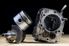 Crankshaft, piston and other parts of the internal combustion en Royalty Free Stock Photography