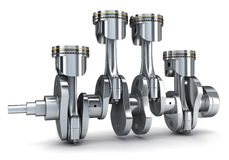 Crankshaft and pistons. (done in 3d Royalty Free Stock Image