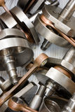 Crankshaft and rod. Mechanical parts, crankshaft and rod for two-stroke engine Stock Image