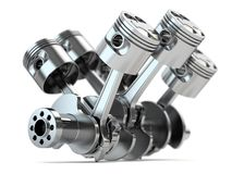 Crankshaft V6 engine stock illustration