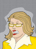 Cranky Lady in Yellow. Woman in yellow having a temper tantrum Stock Photo