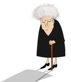 Cranky Old Lady Looking Suspicious. Funny cartoon of a crotchety old woman looking sideways Royalty Free Stock Image