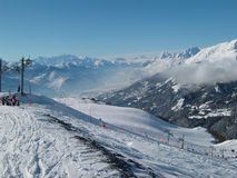 crans蒙大拿手段滑雪 免版税图库摄影