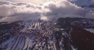 Crans high, frontal travelling - Aerial 4K stock video