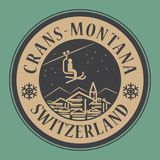 Crans-Montana in Switzerland, ski resort. Abstract stamp or emblem with the name of town Crans - Montana in Switzerland, ski resort, vector illustration Royalty Free Stock Image