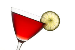 Crantini Cranberry Cocktail with Slice of Lime Stock Photo