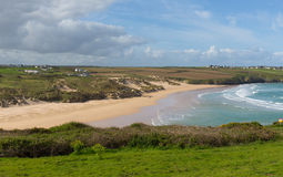 Crantock bay and beach North Cornwall England UK near Newquay with waves in spring Royalty Free Stock Images