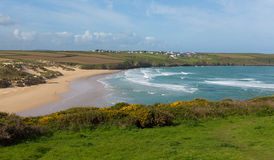 Crantock bay and beach North Cornwall England UK near Newquay with waves in spring Royalty Free Stock Photos