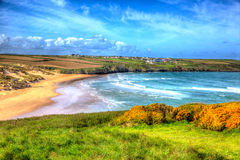 Crantock beach North Cornwall England UK near Newquay in colourful HDR like a painting Royalty Free Stock Photos