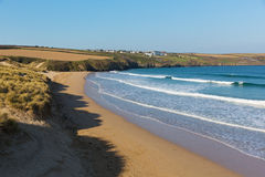 Crantock beach North Cornwall England UK near Newquay. Crantock beach view to West Pentire and Bowgie Inn North Cornwall England UK near Newquay in spring with royalty free stock photo