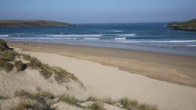 Crantock beach PAN North Cornwall England UK near Newquay stock footage