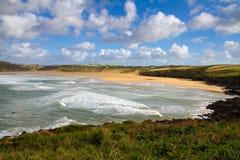 Crantock fjärd och strand Cornwall England Royaltyfria Bilder