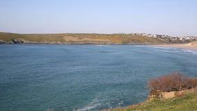 Crantock North Cornwall England UK near Newquay beach and bay PAN stock video footage