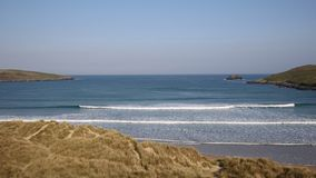 Crantock North Cornwall England UK near Newquay waves beach and bay stock video footage